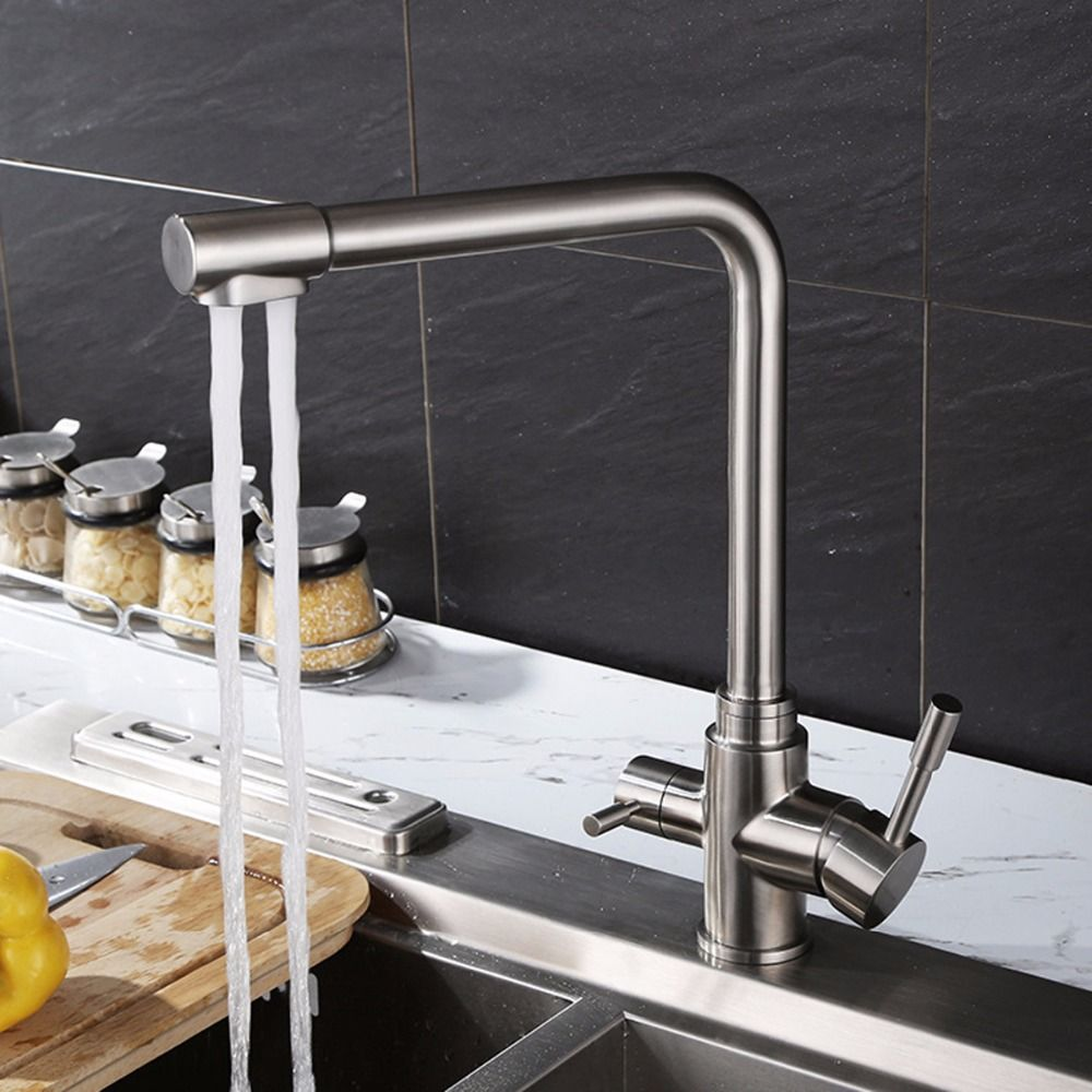 SUS304 stainless steel kitchen faucet, hot and cold water and ...