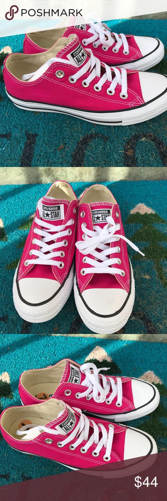 Dark pink Converse All Star low tops