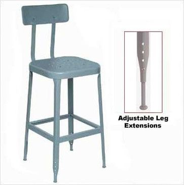 Lyon 1928 26 Stool Steel Seat And Back With Adjustable Leg Extensions Eclectic Bar Stools And Counter Bar Stools Metal Bar Stools Breakfast Bar Stools