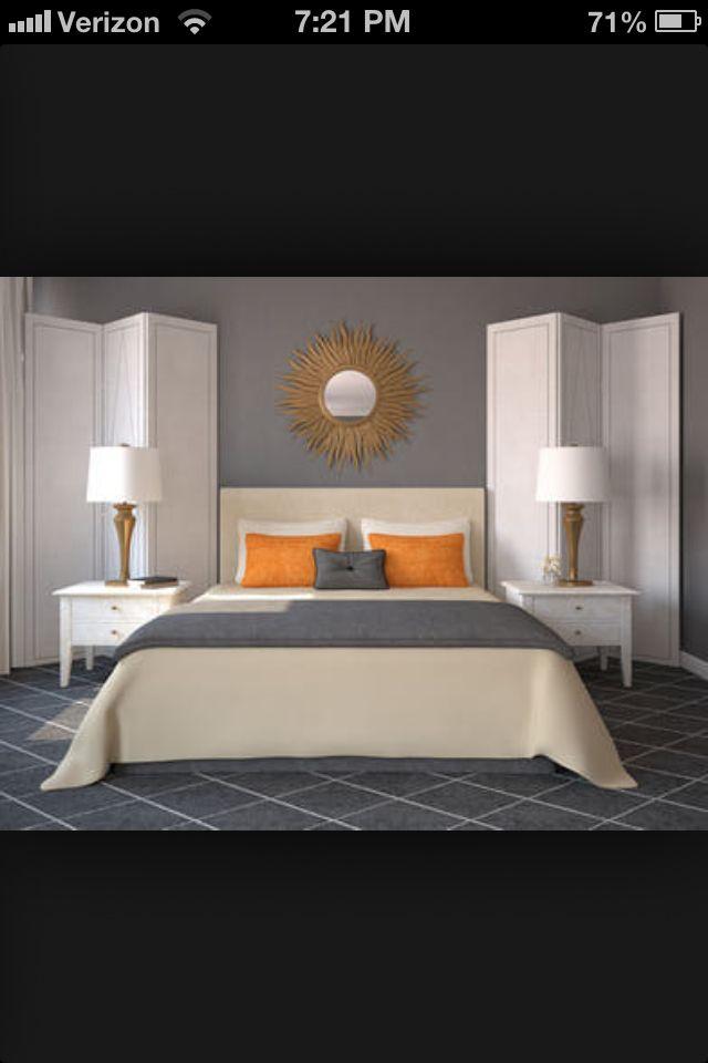Grey and orange room design ideas bedroom orange - Grey and orange bedroom ...