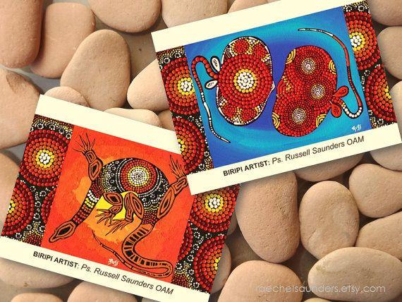 Jeu de carte postale Art autochtone / Echidna par RaechelSaunders