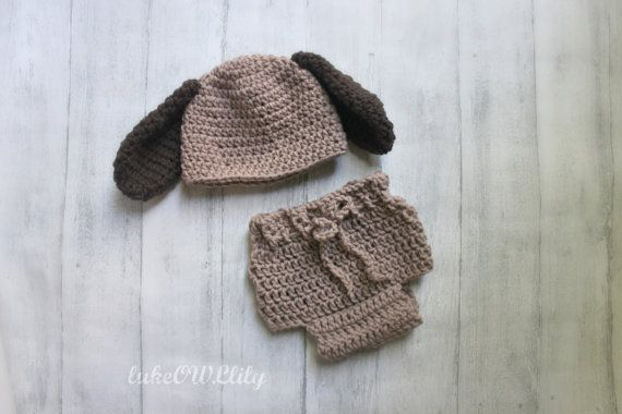 Puppy dog hat and diaper cover set newborn baby by lukeOWLlily, $33.00