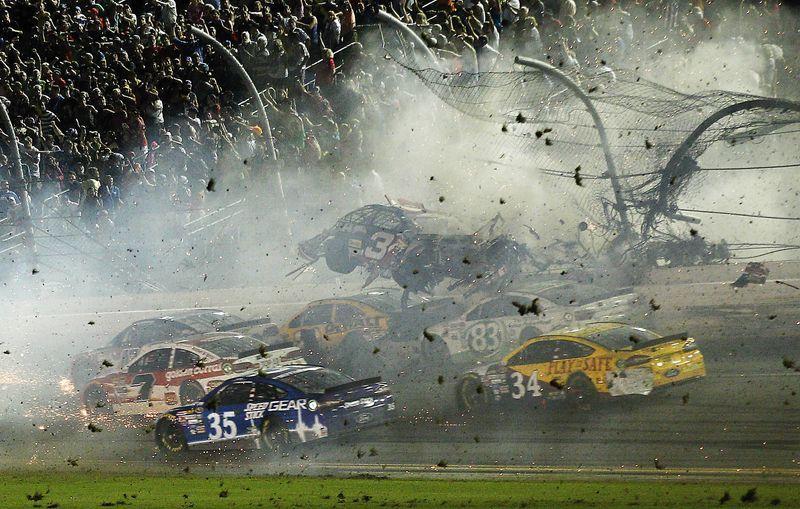 NASCAR race ends with car flipping into fence Nascar