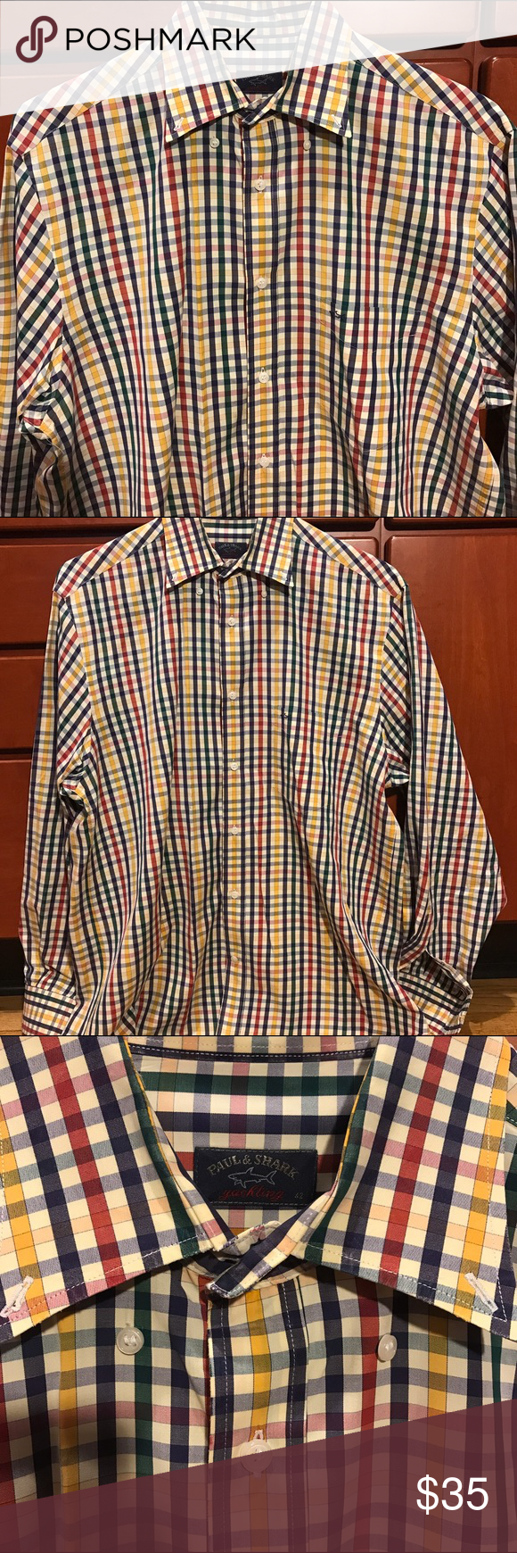 """Paul & Shark Yachting Button Down 100% cotton light weight all flaws that I can find are shown in the pictures size 42 made in Italy straight from being dry cleaned length is 31""""  across is 25"""" Paul & Shark Shirts Casual Button Down Shirts"""