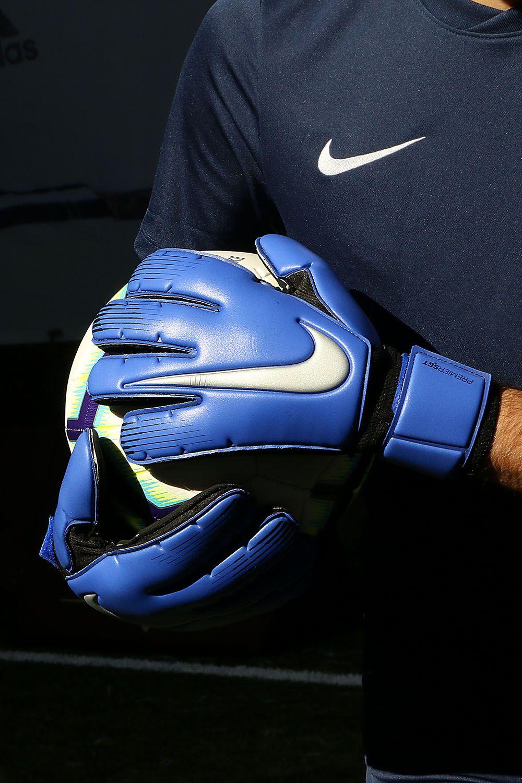 Guantes de portero profesionles Nike corte flat - azules Guantes De Fútbol 23f0ef599ff17