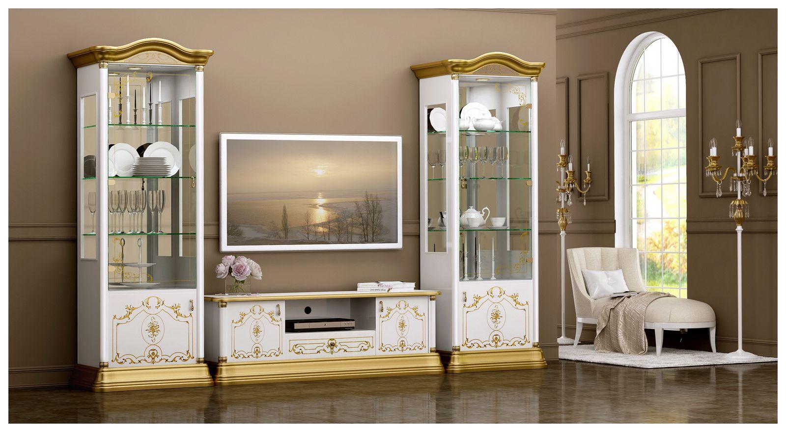 Barock Wohnwand Rosa In Weiss/Gold Bringt Aussergewöhnliche Abwechslung In  Ihr Wohnzimmer. Besonderheiten Wie