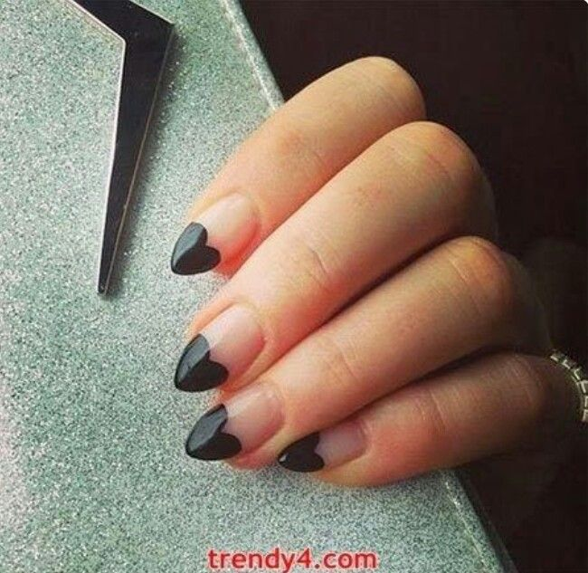 Black Heart Tipped Nails Black Nail Designs Heart Nails Almond Nails Designs