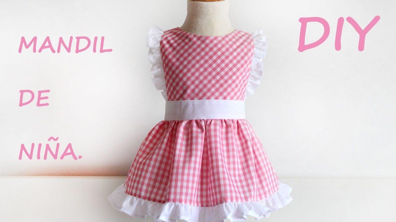 Como hacer un mandil para niña. Costura fácil. | Patrones y costura ...