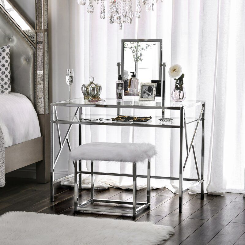 Enid Vanity Set with Stool and Mirror in 2020 Vanity