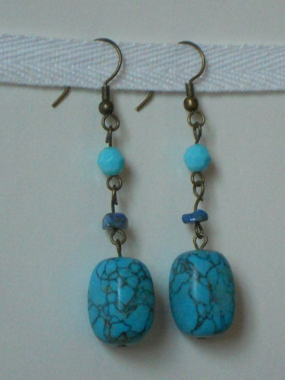 Robin's Egg Turquoise Stone Drop Earrings ~~ by Boutique Zaida on etsy.com