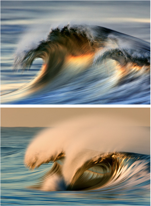 """David Orias - Waves """"'The bold colors and painterly feel in many of my wave photographs are mostly the result of early morning light, camera motion and slow shutter speed exposures, in contrast to the more typical front-lit photos and fast shutter speeds seen in many surfing photographs.'"""