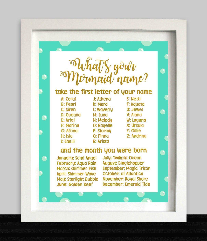 What's Your Mermaid Name / Mermaid Party Sign / Mermaid