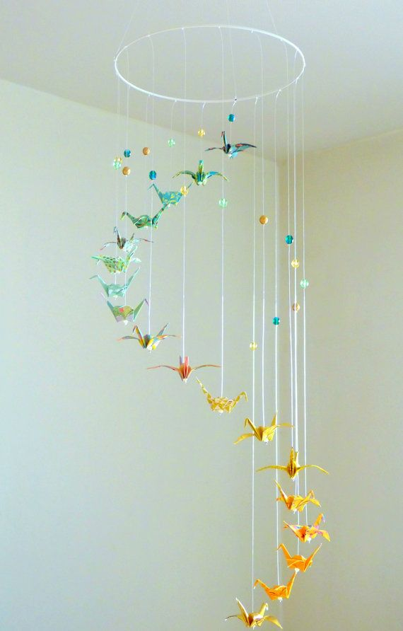 Origami Mobile Baby Spiral Crane Mobile Birds Green Yellow