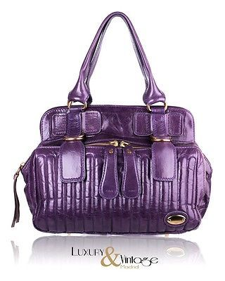 NEW-Chloe-034-Bay-Bag-034-Purple-Leather-Tote-Bag-Handbag  d2cd4c7e03