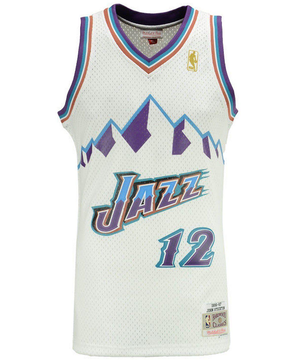 ed68f6b65318 Men s John Stockton Utah Jazz Mitchell   Ness White Throwback Swingman  Jersey