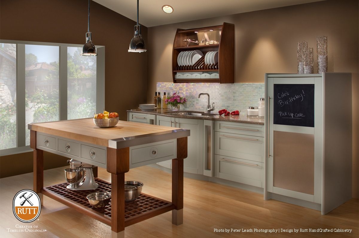 Aris By Rutt HandCrafted Cabinetry.French Grey Paint. Oxford Walnut Stain.  Http: