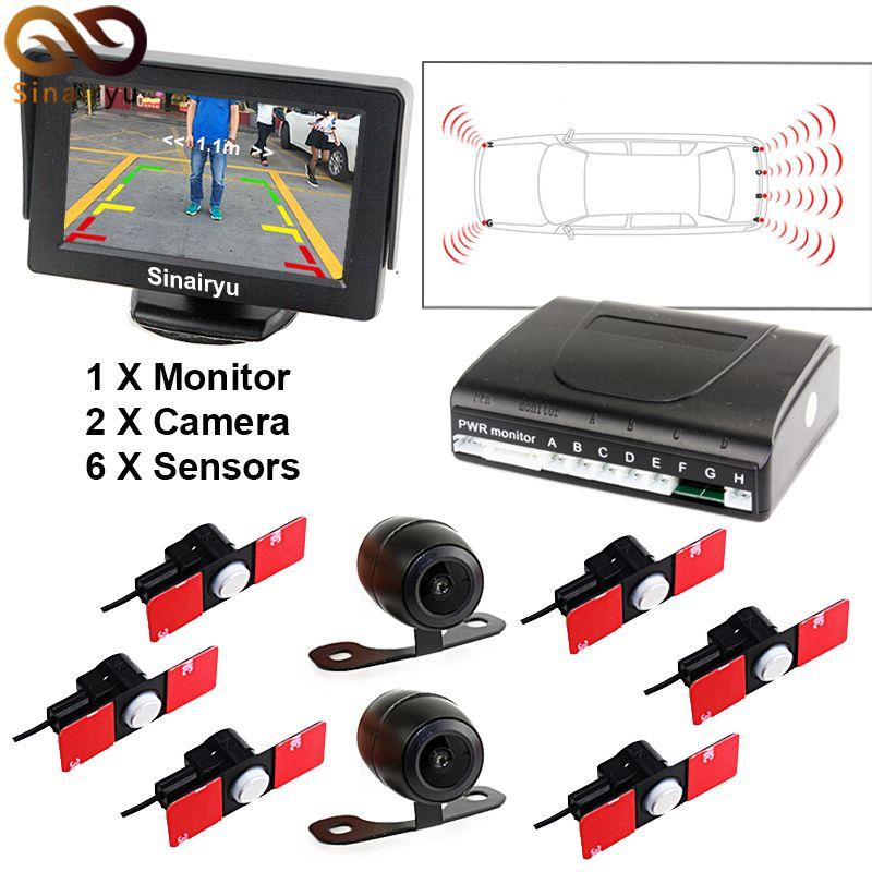 3in1 16mm Original Flat Sensor Car Front Rear 6 Sensors Video Radar Parking Sensor 5 Car Monitor With Front Re Rear View Camera Front View Camera Car Camera