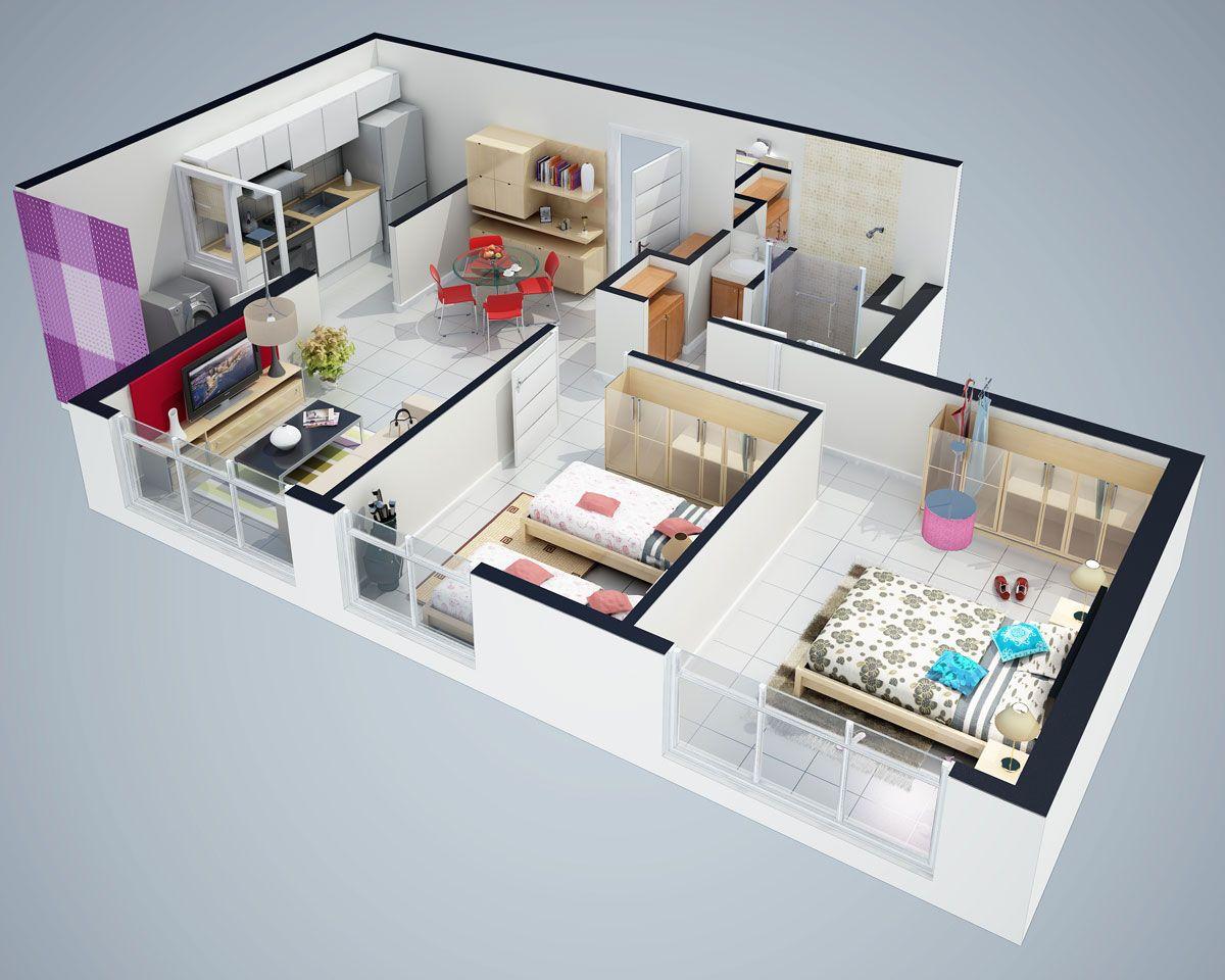 Ahorro de espacio dise o de interiores en departamentos - Diseno de casas 3d ...