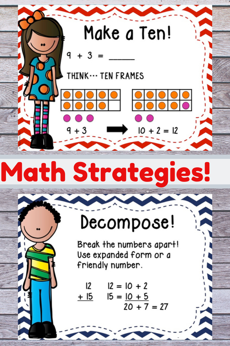 Addition Math Strategies Gr K 3 Anchor Charts Posters And