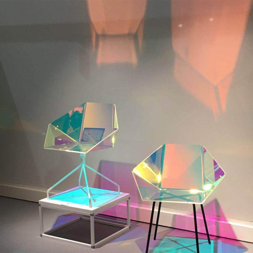 Rainbow Effect Iridescent Window Film Decorative Glass Sticker Chamelon Color
