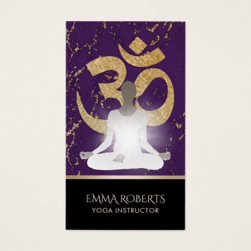 Yoga instructor namaste modern purple gold business card yoga instructor namaste modern purple gold business card colourmoves