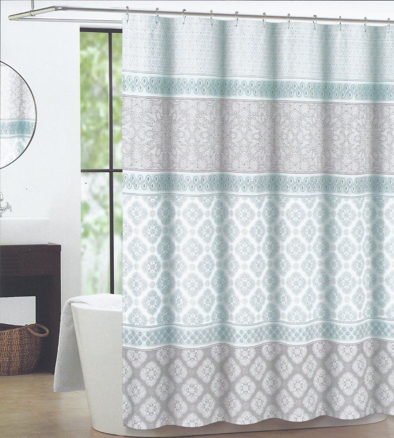 Max Studio Home Fabric Shower Curtain Seafoam Green Gray Tan