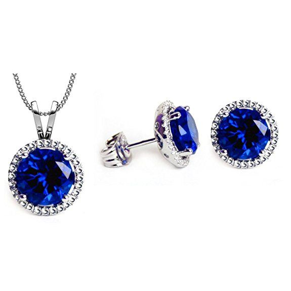 Swarovski Crystals Jewelry Set Collection: Tanzanite Color Pendant & Earrings Set By GLIMMERING TMbFC