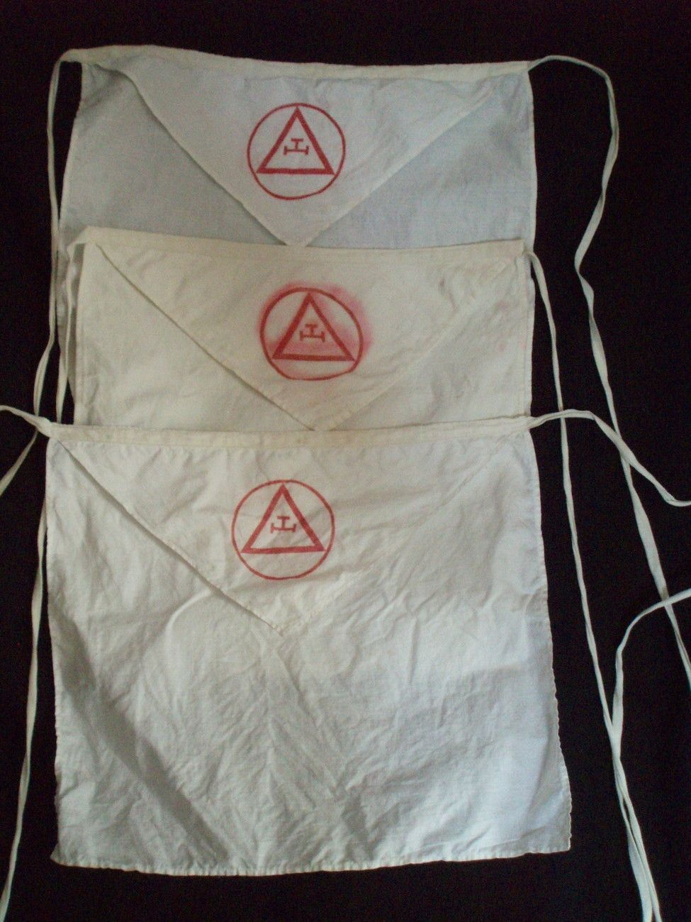 3 Masonic Aprons Templar Knights 1850s Triple Tau Antique Proof That