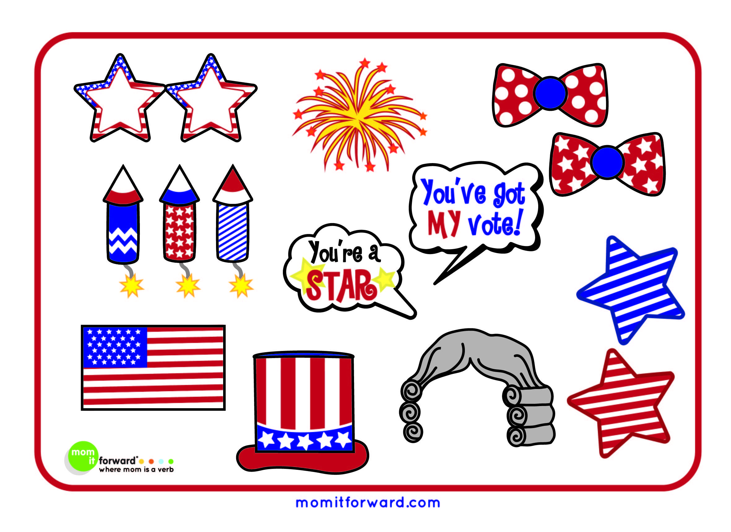 4th Of July Photo Booth Printables