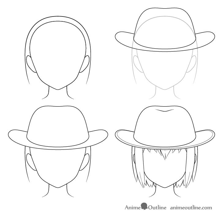 How To Draw Anime Hats Head Ware Animeoutline In 2020 Anime Drawings Anime Hats Cowboy Hat Drawing