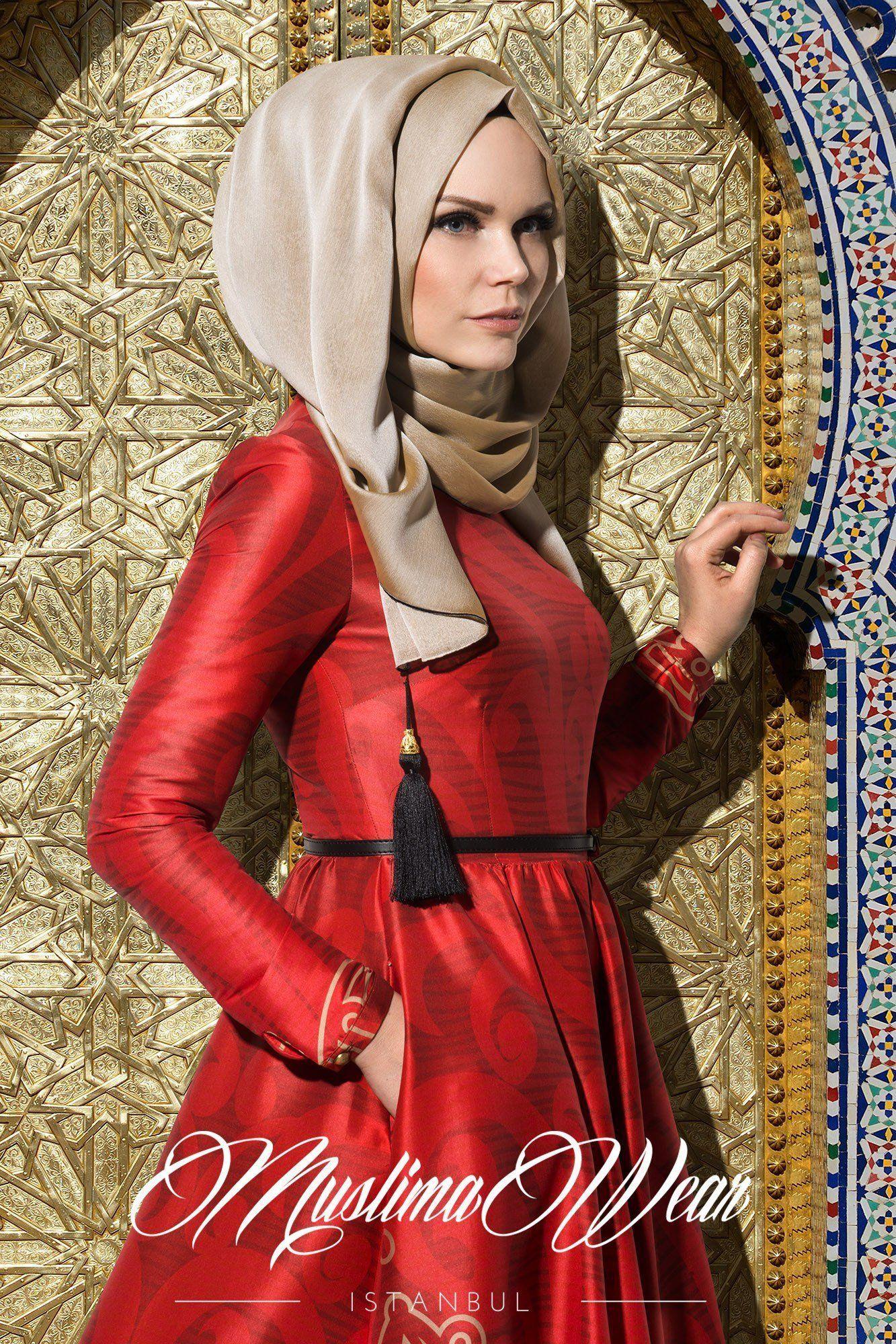 Muslima Hijab Beige   Red evening dress, Muslimah fashion
