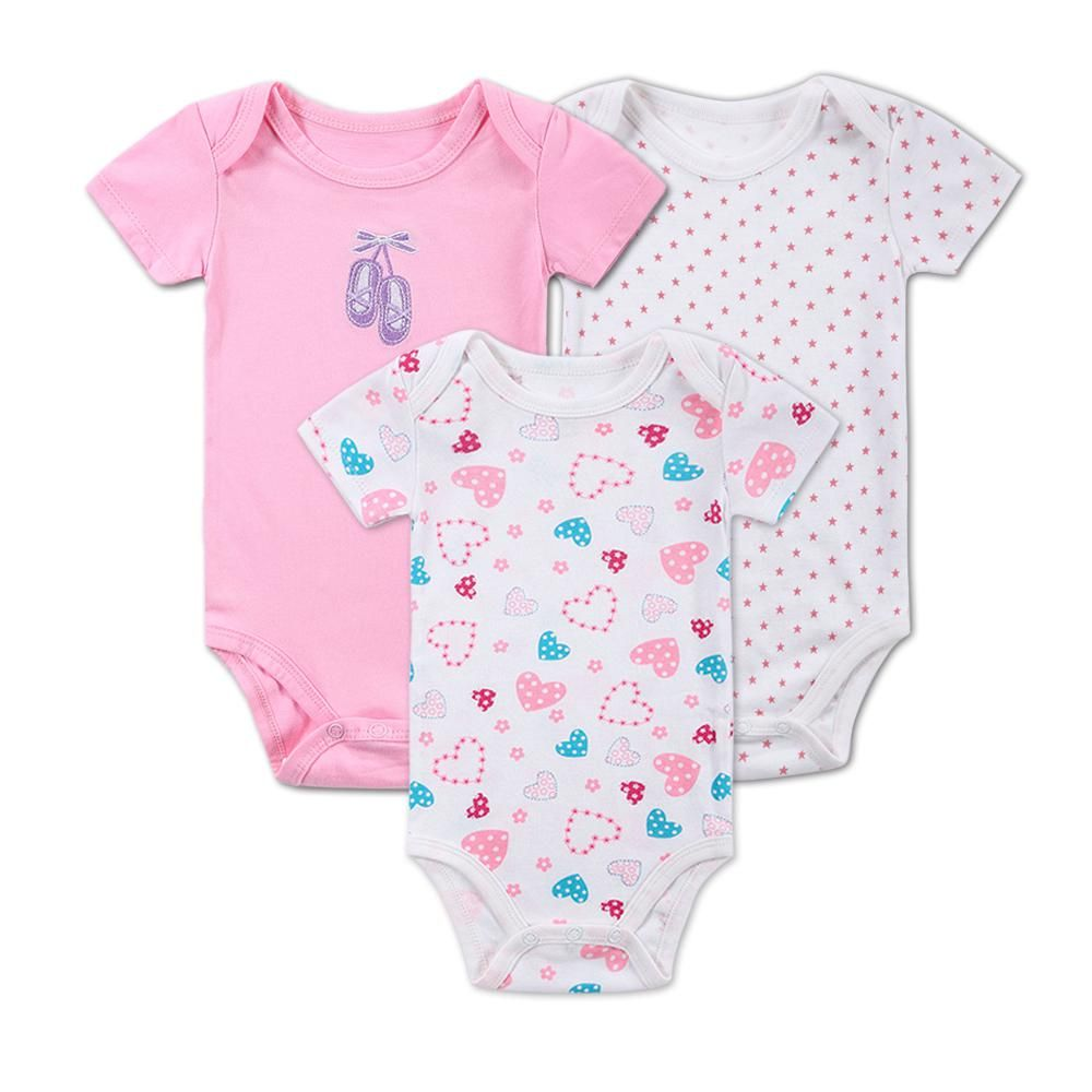 3ee271e8c 3pcs/lot Newborn Baby Girls Summer Short Sleeve Romper Girl Cotton Heart  Shape Infant Product One Piece Baby Clothing 0-3M 0-12M.