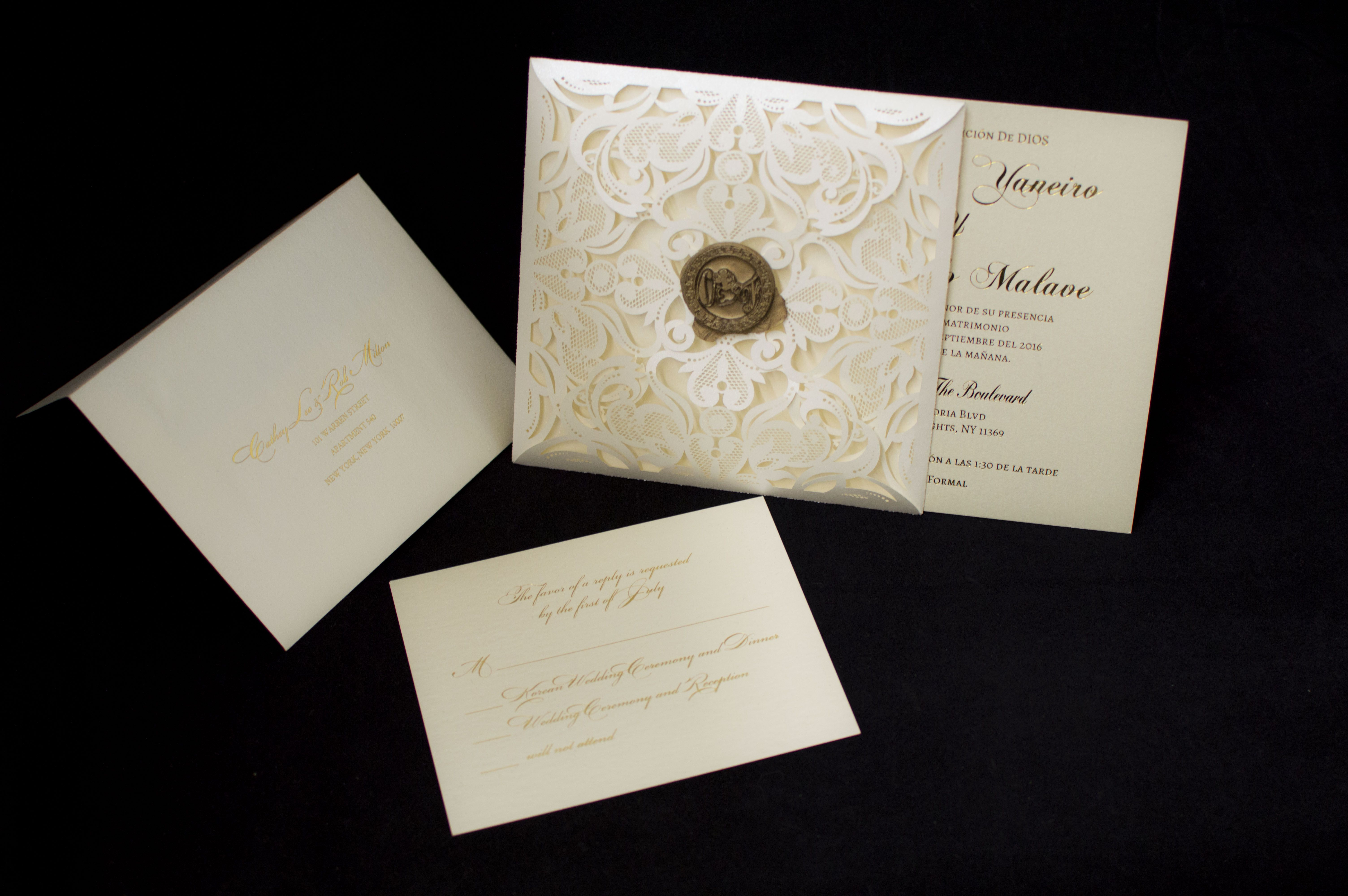 Unbelivable beauty of custom wedding invitation made in New York ...