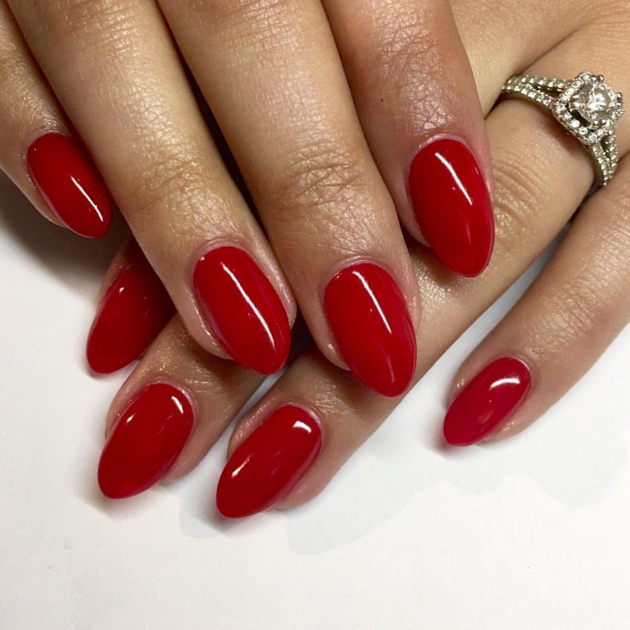 Photo Red Nails Acrylic Nail Shapes Squoval Nails