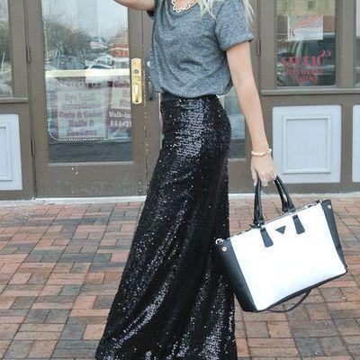 Black sequin maxi skirt