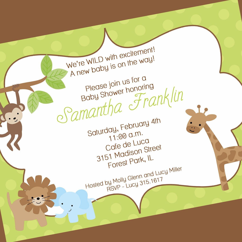 Jungle Baby Shower Invitation Wording Ideas
