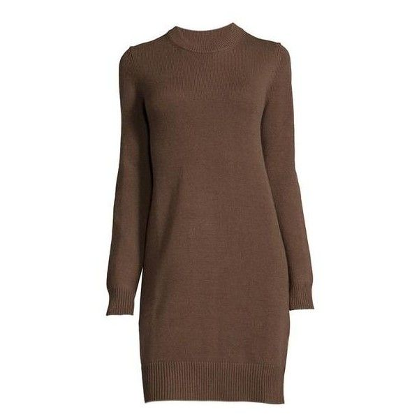 74a473e5729a Michael Kors Brown Cashmere Long-sleeve Sweater Chocolate Dress ( 840) ❤  liked on Polyvore featuring dresses
