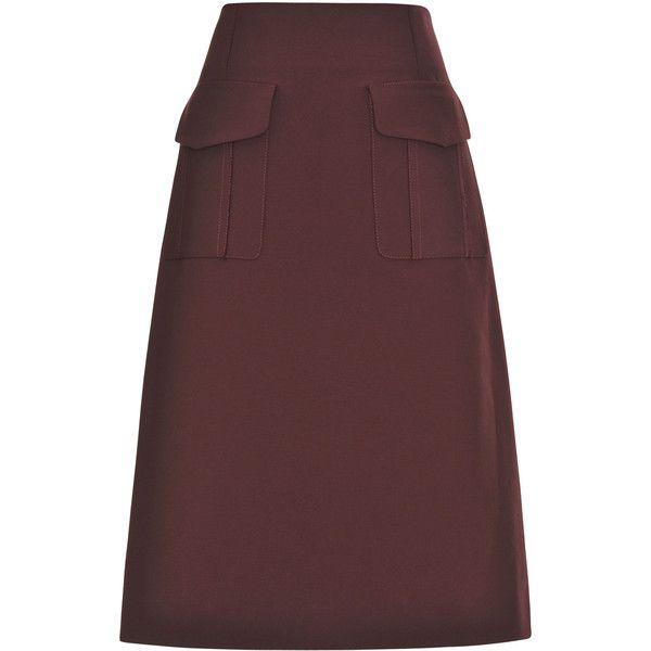 1b549fc03b8e Tome Plum Heavy Cotton Skirt (11 100 ZAR) ❤ liked on Polyvore featuring  skirts, high waisted knee length skirt, red a line skirt, cotton a line  skirt, ...