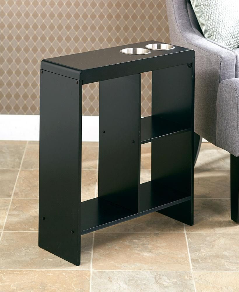New Slim End Table With Drink Holders Storage Furniture Bar Shelf
