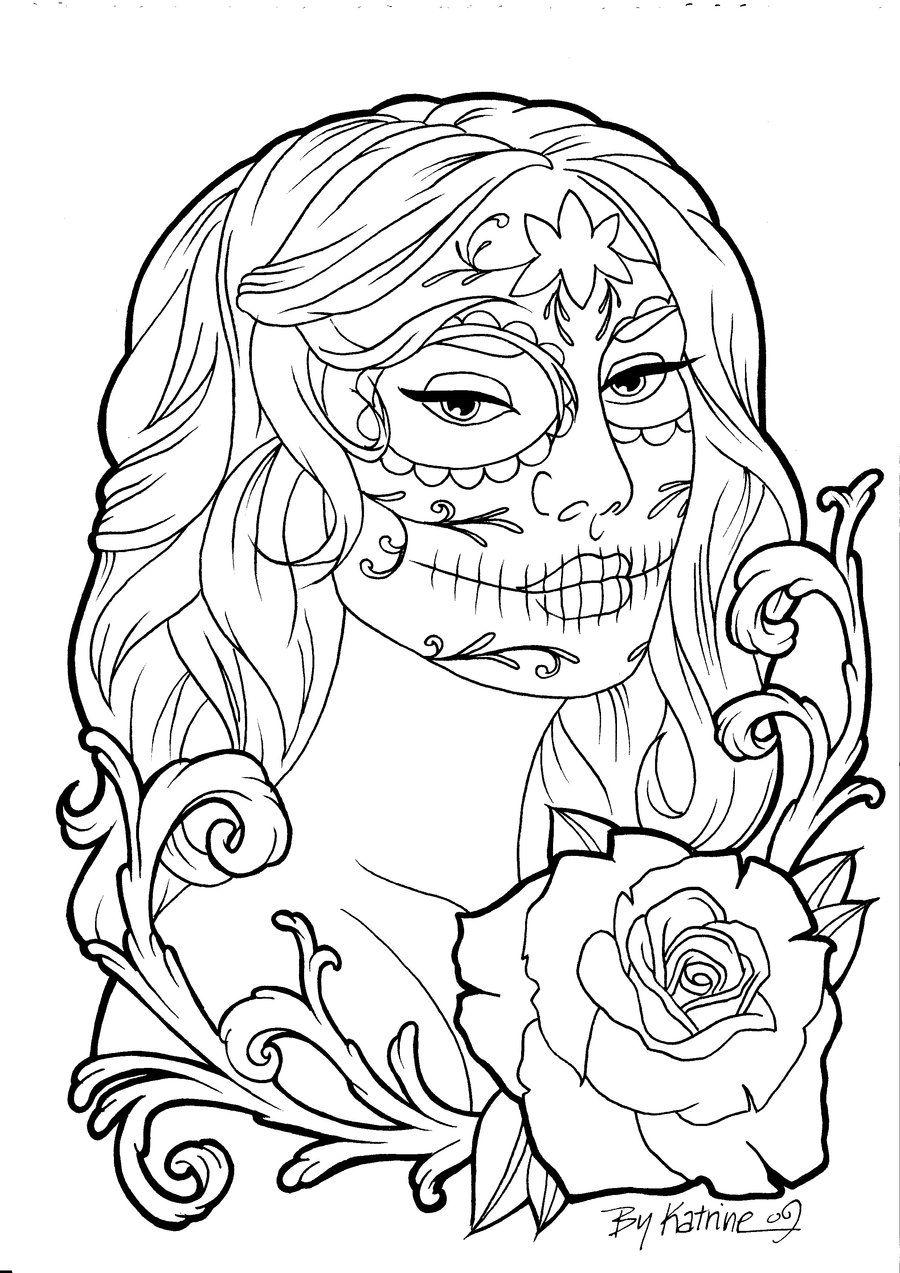 Calavera II by Koyasan on deviantART  Skull coloring pages