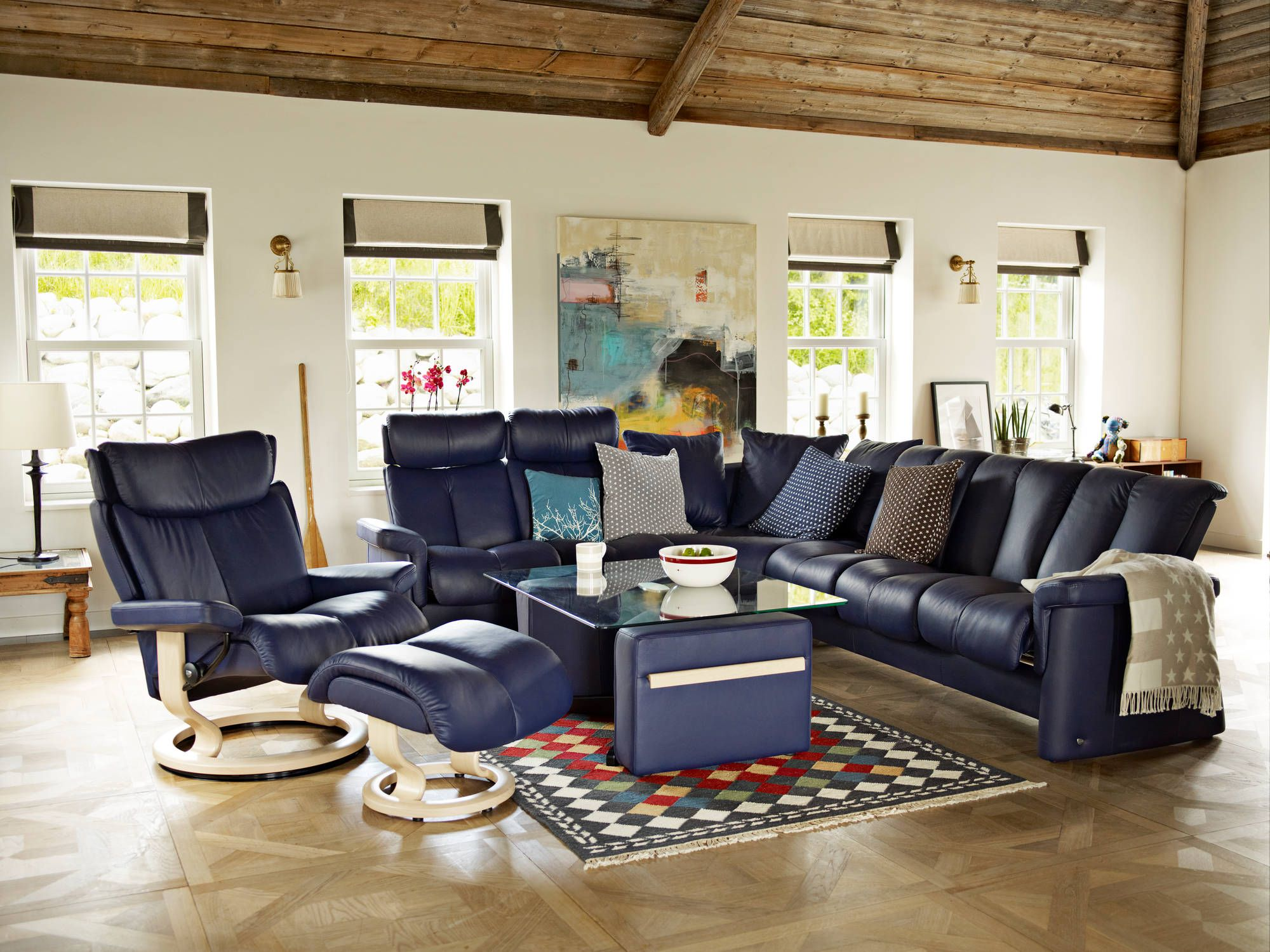 Ekornes chairs for sale stressless paloma indigo leather by ekornes - Stressless Legend Sofa In Paloma Leather Color Indigo And Magic Recliner In Indigo