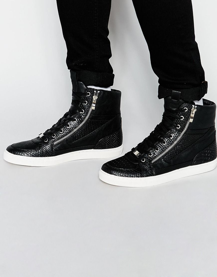 ASOS Hi-Top Trainers in Black With Snakeskin Effect and Zips