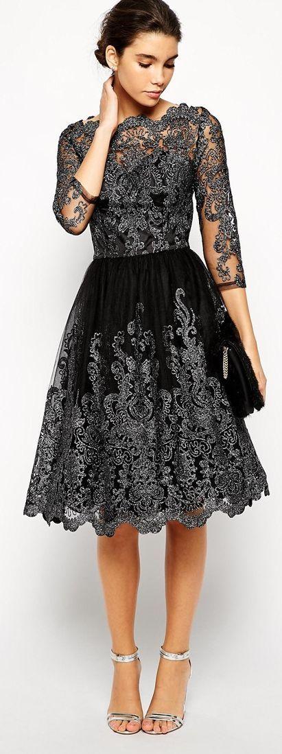 Chi Chi London Metallic Lace Midi Prom Dress | Kleider, Kleidung und ...