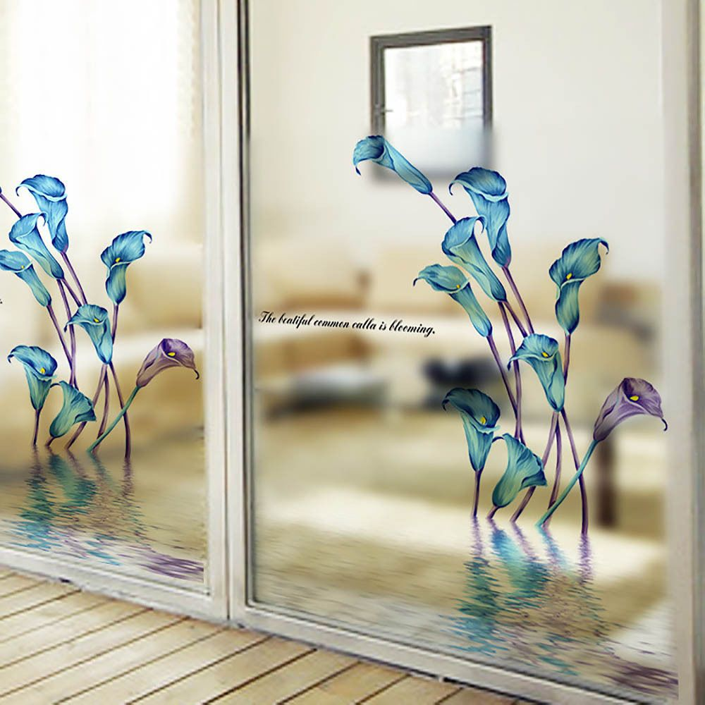 Window decor stickers  removable waterproof window decal flower wall glass sticker vinyl