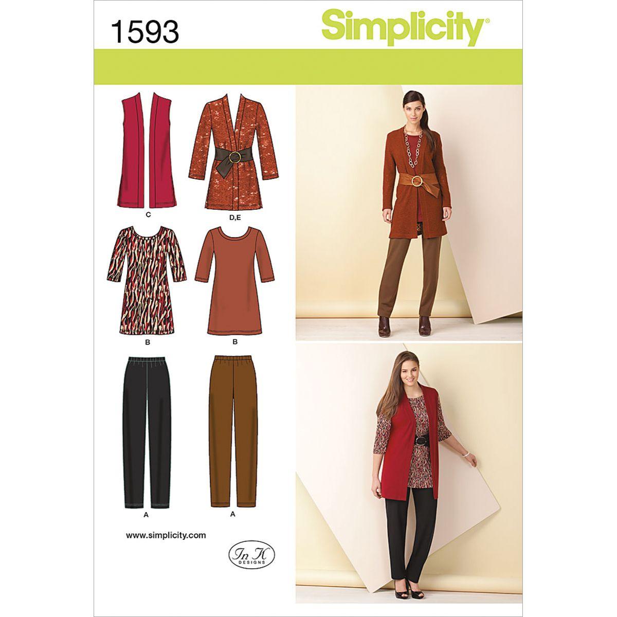 Plus Size Womens Pattern Dress Top Pants Easy Sz BB 20W to 28W Simplicity 3506