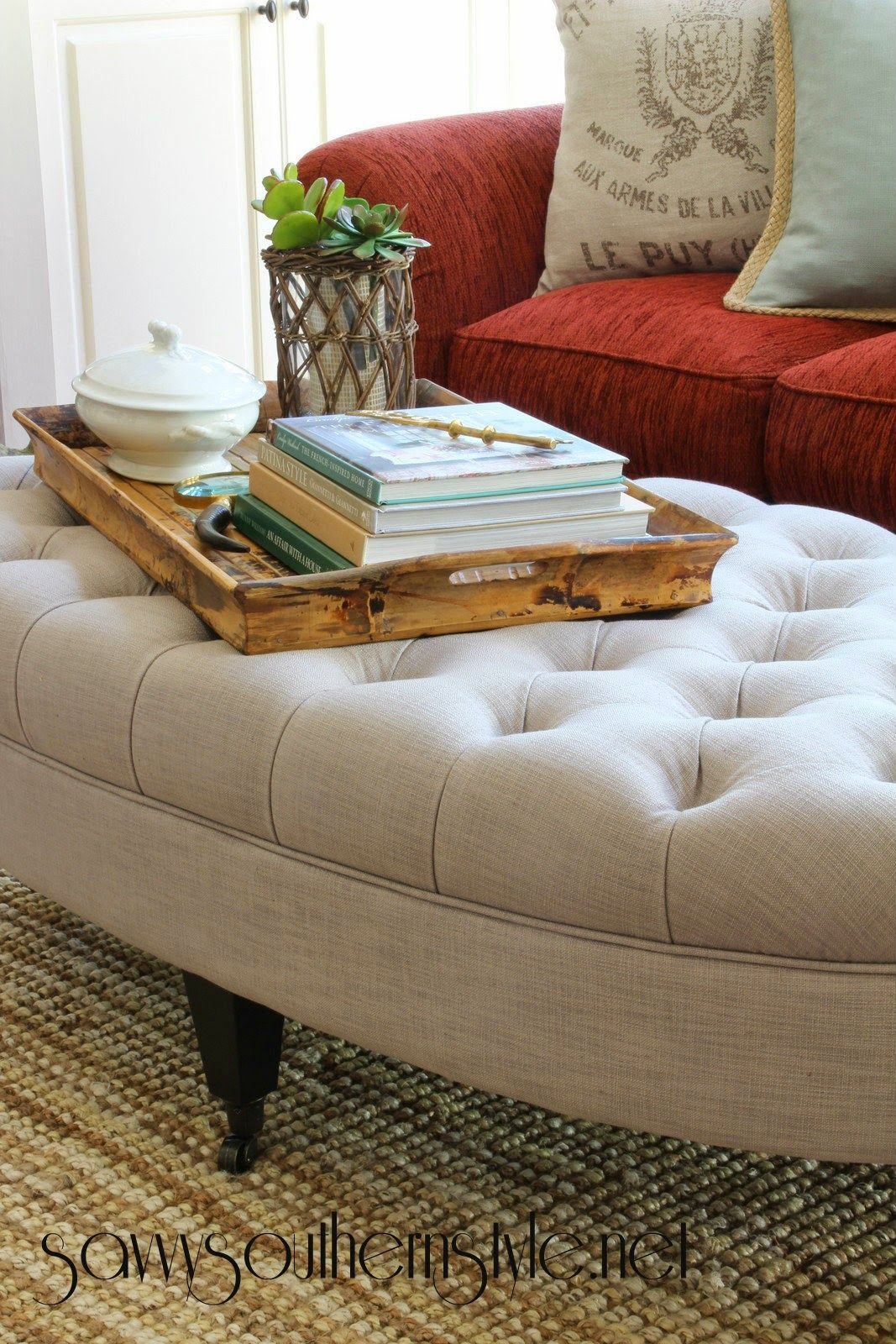 Ottoman Uses Tufted Beauty Home Ideas Decorating Coffee Tables Room