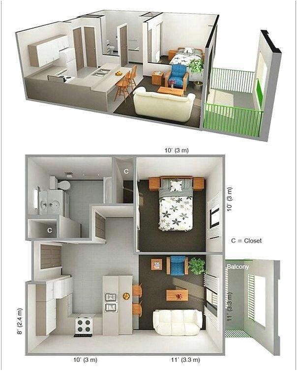 Denah Rumah 1 Kamar Tidur Minimalis 3D | Denah Rumah, Ide Apartemen, Rumah  Minimalis