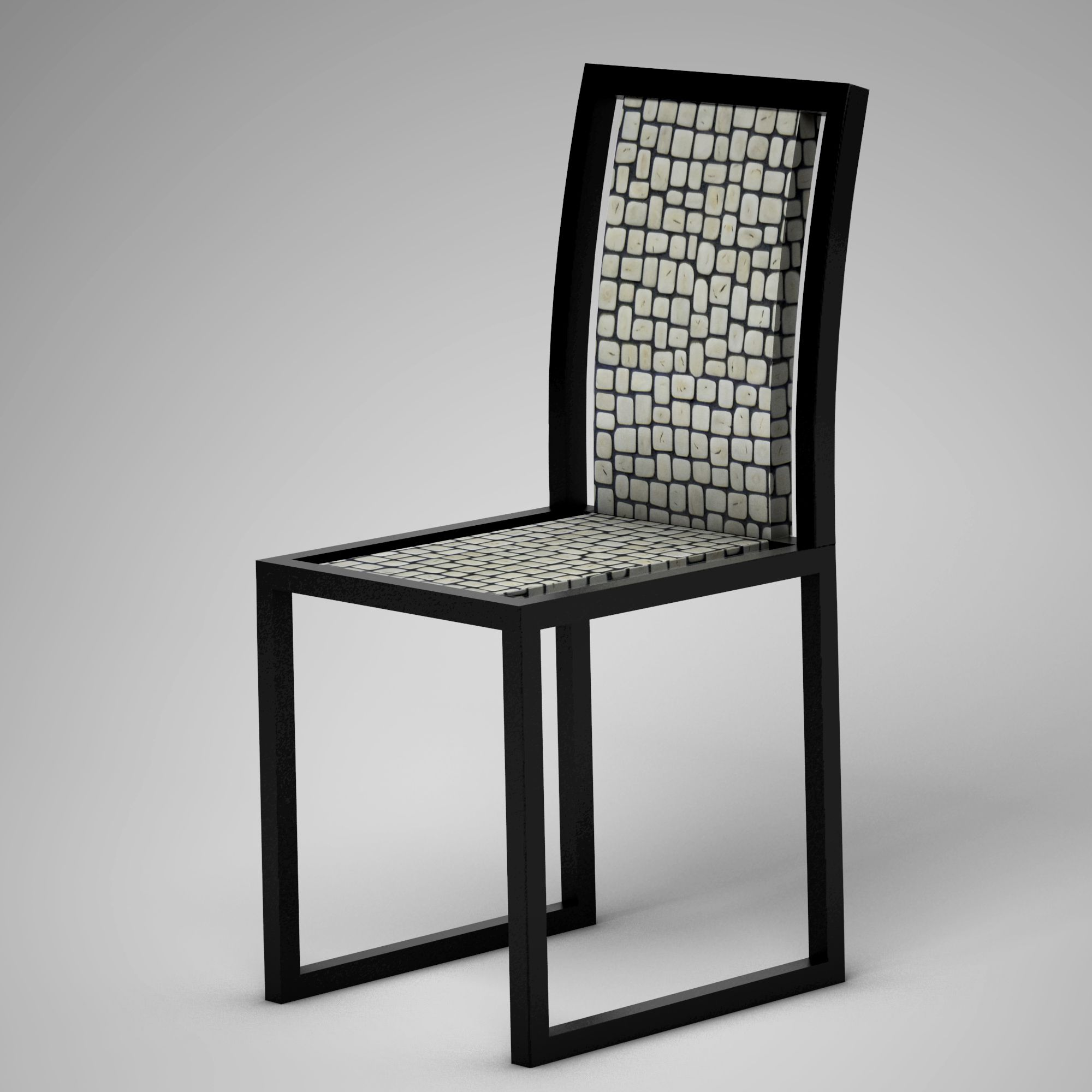 Ivory Vegetal Design Chair_Random White