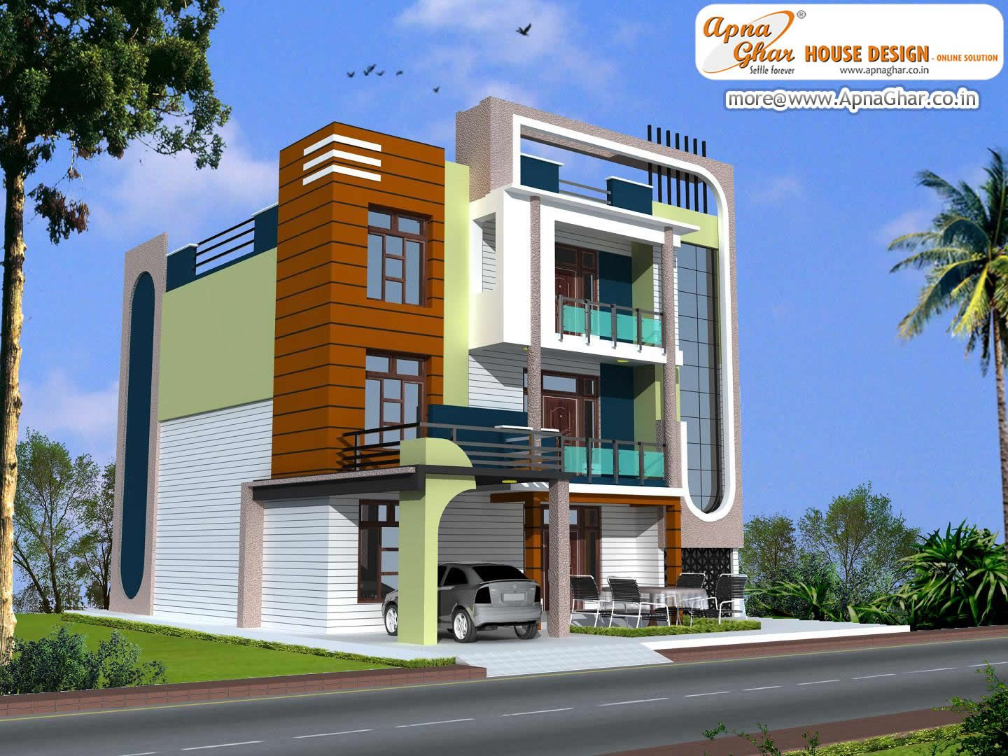 Floor Front Elevation Usa : Modern triplex house design area sq mt click on