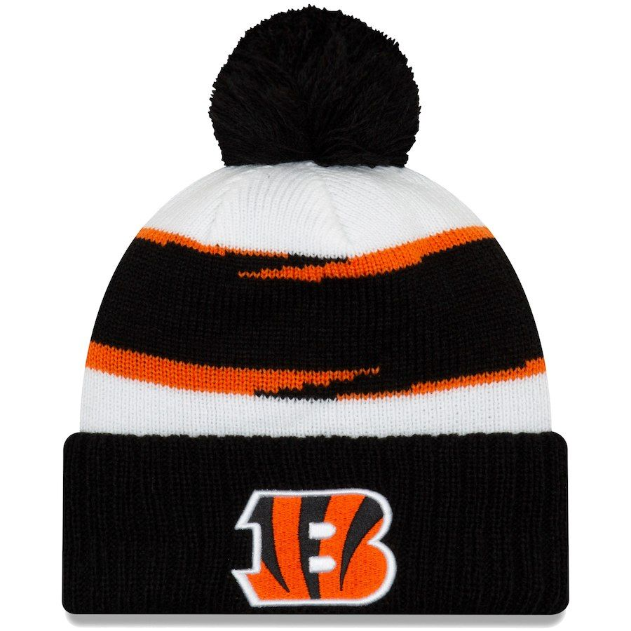 Men s Cincinnati Bengals New Era White Black Thanksgiving Cuffed Pom Knit  Hat 2c3fb264c